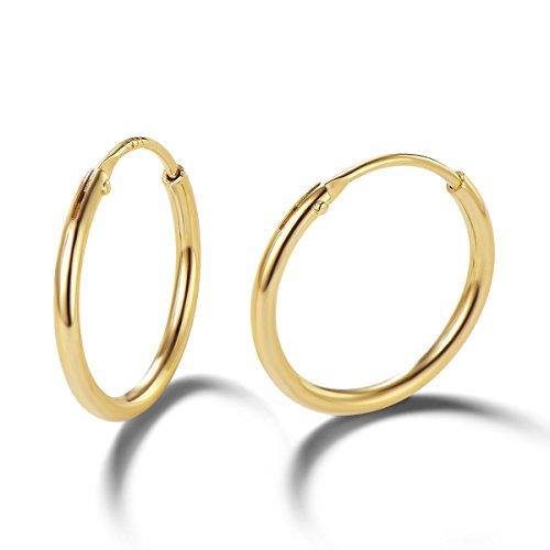 Pendientes De Aro para Mujer Plata de ley 925 Chapada en Oro círculo Aretes Pendientes Hoops - Diámetro: 13 mm