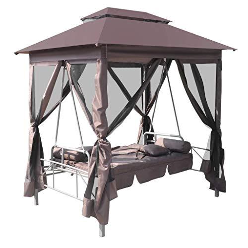 tidyard Pavillon Schaukelstuhl Hollywoodschaukel Gartenschaukel mit Bettfunktion Stahlrahmen Max. Tragfähigkeit 240 kg 220 x 160 x 240 cm Kaffeebraun