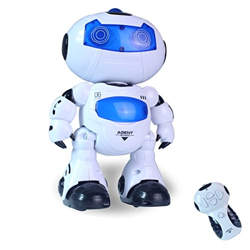 Hugine RC Dancing Robot Electrical Remote Control Walking Robot Toddler Intelligent Action Learning Toys with Music Lights for Kids Girls Boys Pets