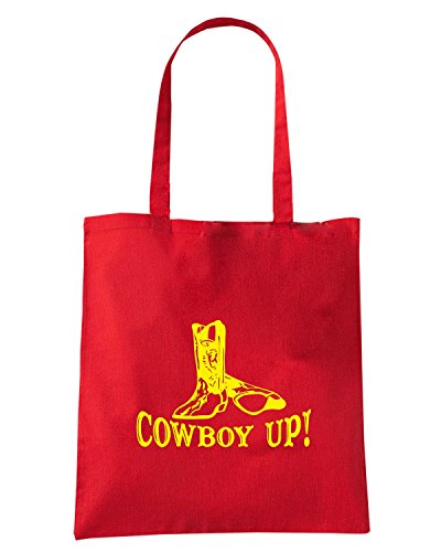 T-Shirtshock - Borsa Shopping FUN1062 cowboy up with boots decal 31560 Rosso