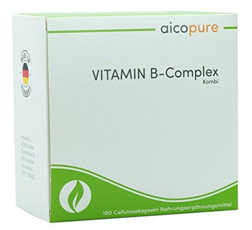 VITAMIN B Komplex • vegan • Kapseln • B1 (Thiamin), B2 (Riboflavin), B3 (Niacin), B5 (Pantothensäure), B6, B12, Biotin & Folsäure • Made in Germany (180 Kapseln)
