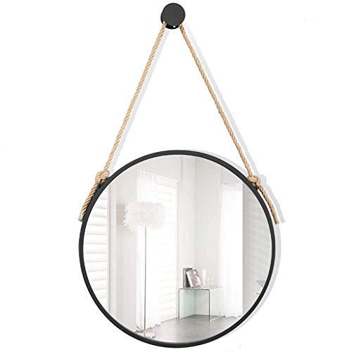 GYX- Deko Groß Modern Hängend Wand Spiegel Runde, Wahr Glas Spiegel Metall Rahmen, Seil, Durchmesser 30-80 cm Bad Salon Flur