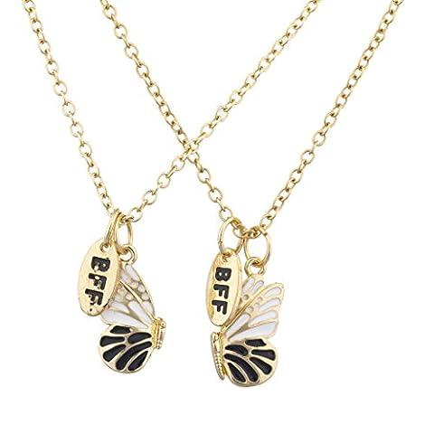 LUX Zubehör Gold Ton Schmetterling Emaille BFF Best Friends Halskette Set (2) (Tan Perlen Set)