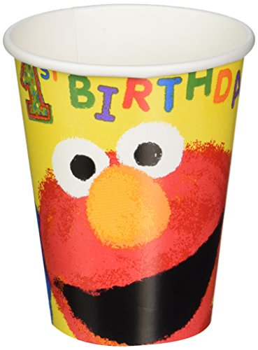 Amscan Sesame Street 1st Birthday Cups Party Supplies, 9 oz, Yellow by Amscan