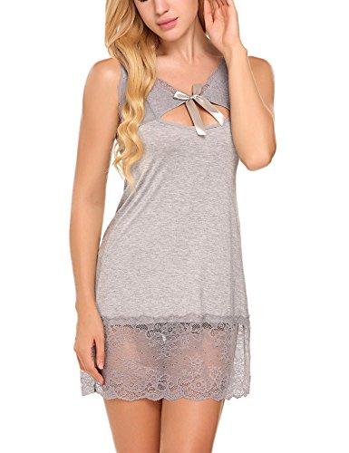 Avidlove Satin Damen Negligee Nachtkleid Nachthemd Babydoll Rückenfrei Nachtwäsche Lingerie Träger kleid Sleepwear mit Spitze Dekor Z Grau