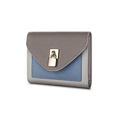 ZLR Mme portefeuille Porte-monnaie à dos courtes en cuir manche fine en cuir et portefeuille à personnalité multifonctionnelle à trois plis