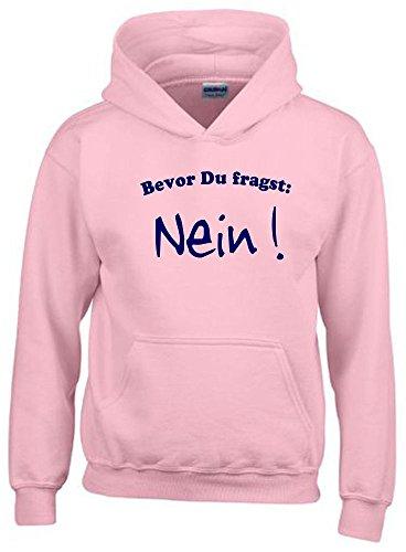 BEVOR DU FRAGST - NEIN ! Kinder Sweatshirt mit Kapuze HOODIE pink-navy, Gr.152cm