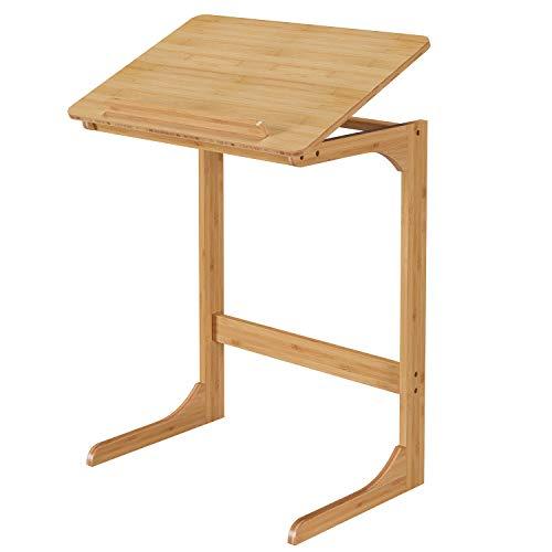 Homfa Laptoptisch Bambus Betttisch Laptopständer fürs Bett Laptop Winkel höhenverstellbar 60x39.5x70cm