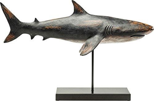 Kare Dekofigur Shark Base, 30380, große, Moderne Tier-Dekoration, Hai aus Polyresin, Schwarz-grau, (H/B/T) 38,5 x 59 x 24 cm -