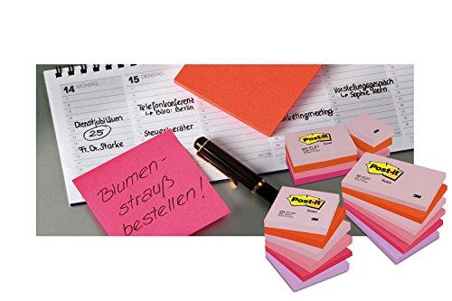 Post-it 6720-PO - Notas de aviso adhesivas (76 x 63,5 mm, 75 hojas, 32 paquetes de 2 bloques), color naranja neón y rosa