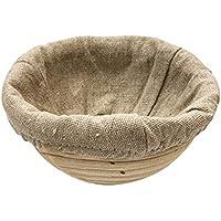 JEELINBORE Cuenco para masas Pequeña y Funda de Lino Cesta para Masa y fermentación de Pan (Cesta Redonda + Funda Redonda, 22 * 8cm)