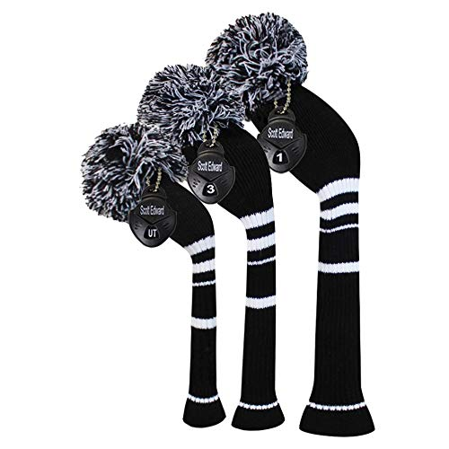 Black Color White Stripes Knitted Golf Headcovers Set -