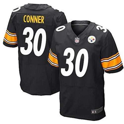 Männer Rugby Jersey Baumwoll T-Shirt Männer Erwachsene Training Kurzarm Casual Top National Football League Uniform für Pittsburgh Steelers 30,Black,XXL -