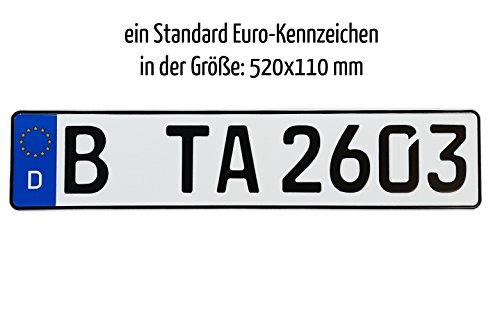 1 euro kfz kennzeichen in der standard gr e 520x110 mm. Black Bedroom Furniture Sets. Home Design Ideas
