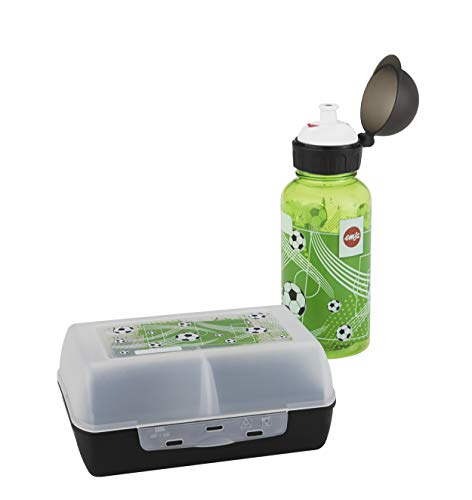 Emsa 518140 Kinder Set Trinkflasche + Brotdose, Motiv: Fußball, BPA frei, Material: Trinkflasche aus Tritan, bruchfest und unbedenklich, Brotdose aus Kunststoff