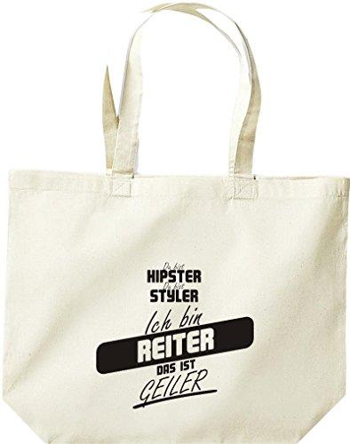 Shirtstown große Einkaufstasche, Shopper du bist hipster du bist styler ich bin Reiter das ist geiler natur