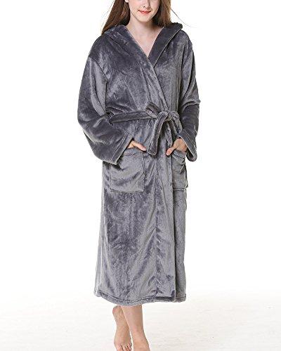 Accappatoio con Cappuccio Unisex Uomo Donna in Microfibra Vestiti Sauna Soft Caldo Vestaglia Grigio scuro