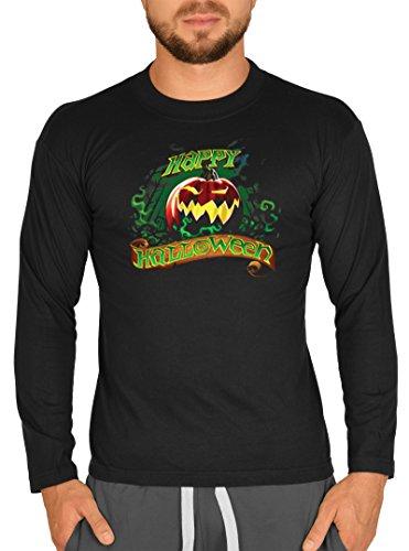 Halloween Langarm Herren T-Shirt Horror Happy Halloween Langarmshirt Grusel Shirt Grusel Kostüm Longshirt für Männer Männershirt Leiberl (Mega-mann-halloween-kostüm)