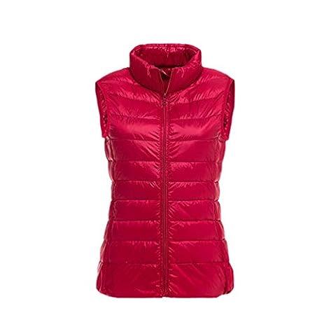 YOUJIA Damen Jacke Daunenweste Leicht Freizeit Steppweste Übergangsjacke Daunenmantel (Rot, L)