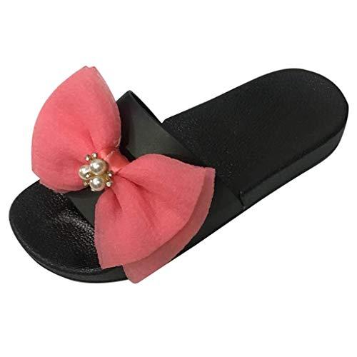 MRULIC Sommer Damen Mädchen Bowknot Kristall Flache Sandalen Hausschuhe Strandschuhe Mit Perlen(Pink,EU-38/CN-39)