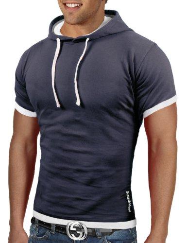 Bents & Mood Herren Poloshirt Slim Fit T-Shirt Hoodie BM12 Dunkelgrau