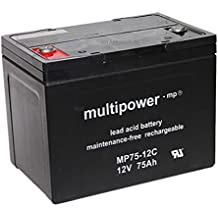 Batería de plomo gel MP75–12C 12V 75Ah AGM vellón de tecnología Pegasus Sillas de ruedas S de silla elektromobil heartway Aviator 15km/h 24V 2x 12V S Scooter USV APC Matrix 5000Smart Cell rbc13RBC14Accu batería battery Bateria batería battery