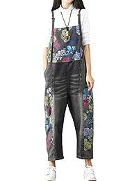 047c5bbea3e Vogstyle Women s Casual Printing Denim Jumpsuit Pants