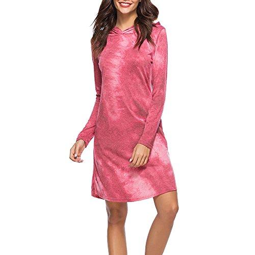 Dihope Femme Printemps Automne Sweat à Capuche Manches Longues Pull Casual Pullover Top Sweat Veste Mode Vin Rouge