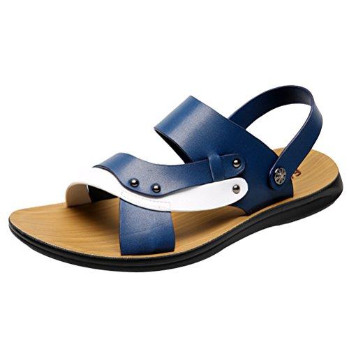 Vogstyle Herren Casual Sandals Offene Schuhe Pantolette Flach Outdoor Sandalen Art 2-Blau