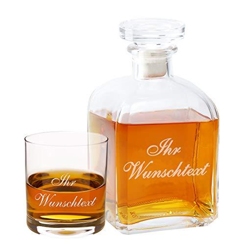 Geschenke 24: Whiskykaraffe (Edel) mit Personalisierung + 1 Glas mit individueller Gravur - Verschiedene Varianten mit persönlicher Gravur - optional mit gravierten Whiskygläsern