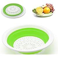 MAYZERO Pieghevole Scolapasta Silicone Cesto Cucina Filtro Cestello (Verde)
