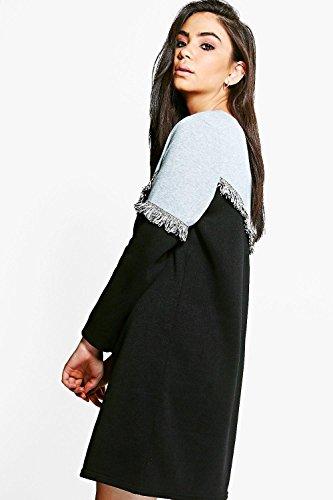... Schwarz Damen Betty Tassel Trim Colour Block Sweat Dress Schwarz
