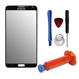 Frontglas für Samsung Galaxy NOTE 3 N9000 N9005 display ersatzscheibe displayglas frontscheibe scheibe / Mit Werkzeug & UV Kleber / Reparaturset 4-in-1/ Schwarz
