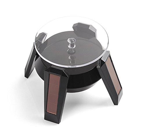 InInteresting® Schwarz 360 ° Solar Power Rotating Jewelry Mobiltelefone Telefon Gläser WatchShowcase Halter Rack Platform Turn Tisch