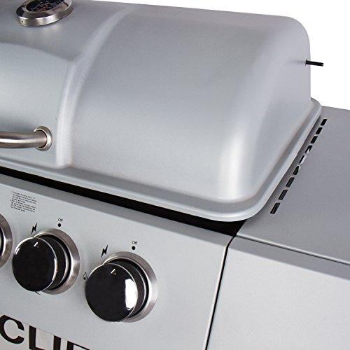 41lvXuMVXiL - CCLIFE Brenner Gasgrill Gas-Grill BBQ Barbecue Toronto Grill Grillwagen Standgrill Set TÜV Getestet Neu, Farbe:Silber, Größe:6 Brenner mit Zubehör