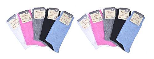 10 Paar Damen Socken, Komfortbund ohne Gummi, unifarbige Pastelltöne , Gr. 43/46
