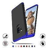 Funda para Samsung Galaxy S9 Plus, AChris 3 en 1 Hard Caja Caso Skin Case Cover Carcasa Ultra Fina Anti-rasguños Choque Resistente Case [Compatible con Carga Inalámbrica]- Negro Azul
