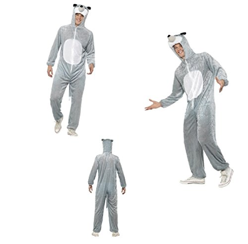 Adult Wolf Onesie Costume, Includes Fancy Dress Jumpsuit With Hood Wolfman Wolf Man Hammer Horror Halloween Fun Run Carnival Festival Stag Do ()