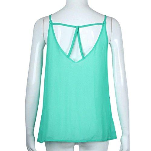 Ineternet Femmes Casual écharpe en mousseline de soie col rond T-shirt sans manches gilet Vert