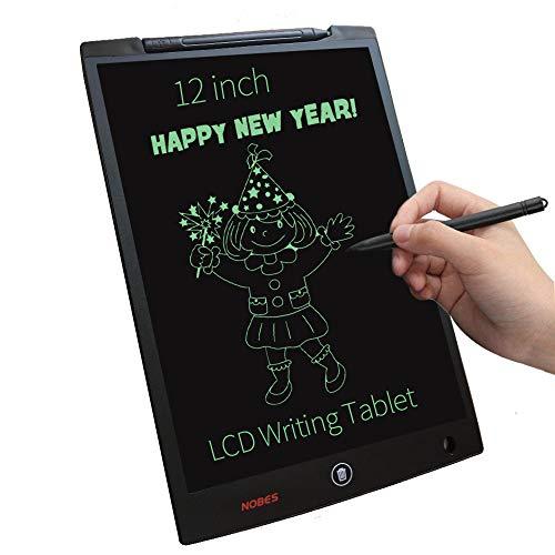 NOBES Tavoletta LCD da Disegno 12 Pollice, Tavoletta Grafica Scrittura Tablet LCD eWriter, Lavagna Tavolo da Disegno Cancellabile Magica per Bambini,Insegnante,Studenti,Progettista (Nero)