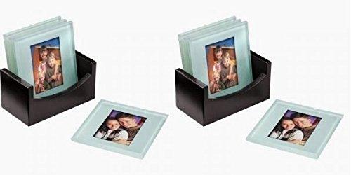 Shop of Accessories®–4Foto-Untersetzer aus Glas mit Halter