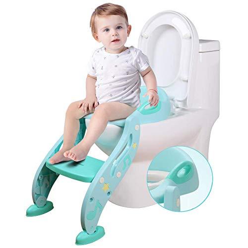 Kissen-trainer (FCDWHJ Klappbar Töpfchentrainer Pedal Höhenverstellbar,Kinder-Töpfchen Toilettensitz mit Weichem PU-Kissen,Trainer Sitz für Kinder Toiletten Training mit Rutschfest Leiter,Blue)