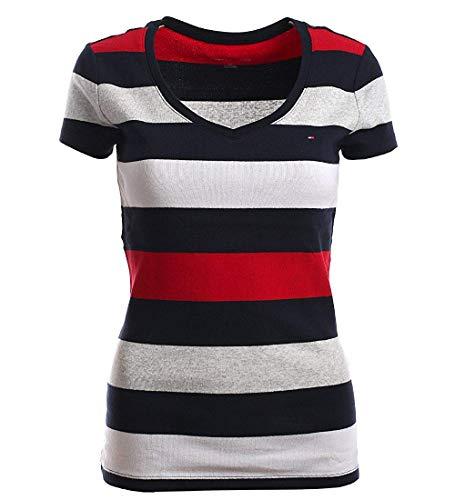 Tommy Hilfiger Damen V-Neck Shirt T-Shirt Stripes, Dunkelblau-rot-grau-weiß, S
