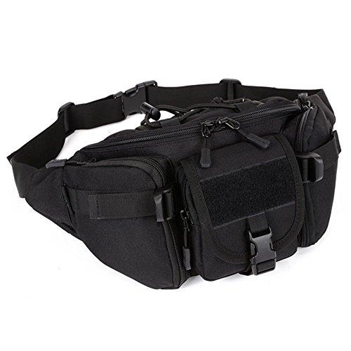Outdoor Taktische Militär Hüfttaschen Nylon Molle Strap Taille Tasche Gürteltasche Laufende Camping Trekking Wandern Wasserdichte Pack - Schwarz