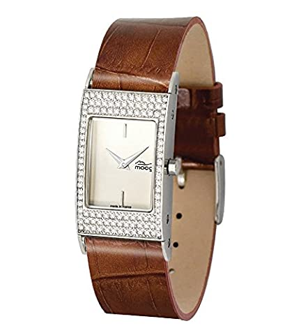 Moog Paris Dome Vogue Damen Uhr mit Weiß Zifferblatt, Austauschbares Dunkelrot Armband aus Echtem Leder - M44261-003