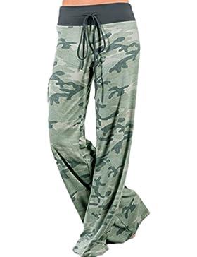 Las Mujeres Verano Casual Yoga Pantalones De Pierna Ancha, Cintura Ajustable Trouses Camo