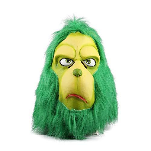 YaPin Wie der Grinch Weihnachten-Kopfbedeckung gestohlen hat Grünes Monster Der Grinch-Masken-Halloween-Ball spielt Filme
