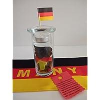 Fussball-WM 2018, Windlicht mit Text der Deutschen Nationalhymne, für Ihre Garten - Fussballparty, fertig verpackt