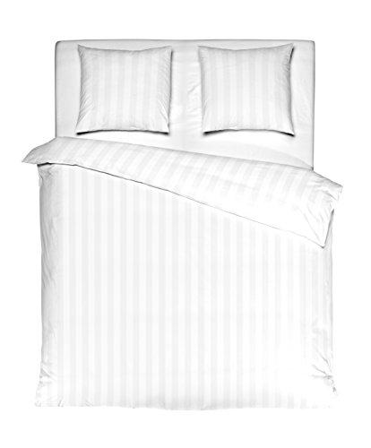 Aminata – weiße Hotelbettwäsche á 200x200 cm + 2 Kissenbezüge aus Baumwollsatin Reißverschluss in einfarbig Weiß gestreift Bettbezug Hotelqualität unifarben Weiss White gestreifte Bettwäsche Streifen (Gestreifte Bettwäsche)