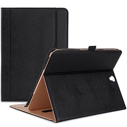 xy Tab S3 9.7 Hülle, Stand Folio Case Cover für Galaxy Tab S3 Tablet (9,7 Zoll, SM-T820 T825), mit mehreren Betrachtungswinkeln, Dokumentenkarte Tasche -Schwarz (Samsung S3 Case)